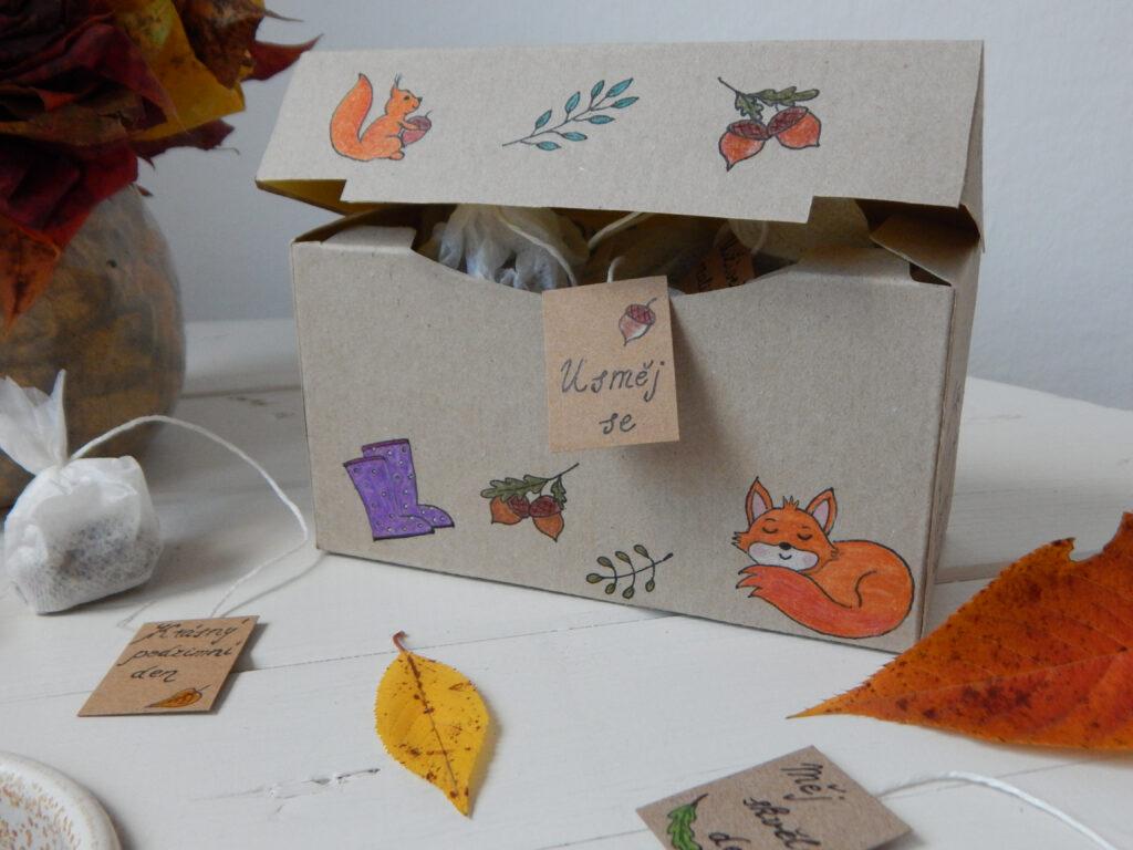 podzimní motivy na čajové krabičce