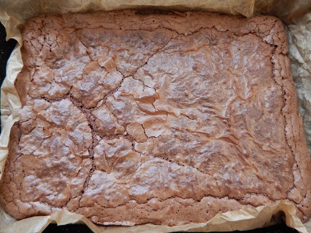 čokoládové brownies po upečení